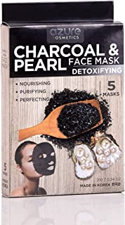 Charcoal and Pearl Detoxifying Face Mask by Azure - Deep Cleanses and Exfoliates | Reduces Appearance of Sunspots | Reduces Signs of Aging - 5 Pack