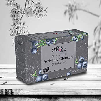 Mirah Belle - Organic Activated Charcoal Cleansing Soap Bar (125 GMS) - BUY 2 Get 1 FREE - FDA Approved - Clogged Pores, Blackheads, Discoloured and Infection Prone Skin. Anti - Pollution. SLS, Paraben, GMO-Free - 125 gm