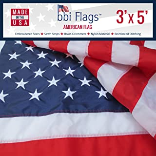 BBI Flags American Flag: Made in USA Flag, Tough Nylon US Flag with Embroidered Stars & Sewn Stripes, Indoor/Outdoor United States Flag with Brass Grommets – 3x5