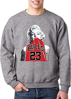 New Way 419 - Crewneck Marilyn Monroe Bulls 23 Jordan Jersey Unisex Pullover Sweatshirt 2XL Heather Grey