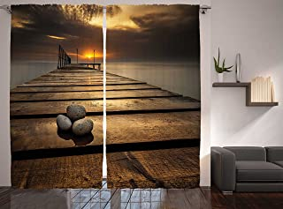 Ambesonne Ocean Curtains, Black Sea at Dusk Sunrise Tranquil Scene Coastline with Wooden Pier Picture, Living Room Bedroom Window Drapes 2 Panel Set, 108
