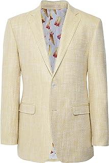 Jules B Men's Linen Silk Herringbone Jacket Yellow