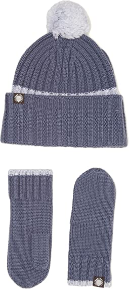 Ribbed Tip Cuff Hat/Mitten Set (Toddler/Little Kids)
