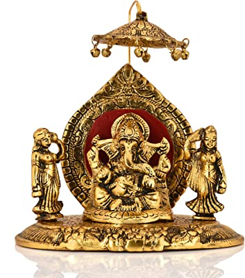 Collectible India Metal Lord Ganesha Riddhi Siddhi Chhatra Statue Hindu God Ganesh Ganpati Sitting Idol Sculpture Good Luck & Success for Home Gifts Decor(Size: 6 x 6 Inches)