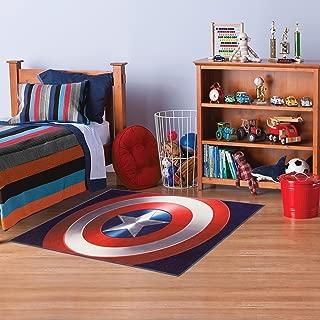 Marvel Captain America Superhero Shield Motif Kids Area Rug, Fun Hero Fighter Design, Rectangle Indoor Living Room Doorway Hallway Bedroom Carpet, Comic Super American Theme, Red, Blue, Size 4'6 x 6'6