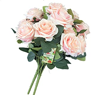 DALAMODA Blush 2 Bundles (with Total 20 Heads) Rose Flower Bouquet, for DIY Any Decoration Artificial Silk Flower(Blush)