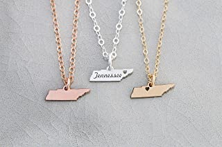 Tennessee Home State Necklace - IBD - Personalize Name Coordinates – Pendant Size Options - 935 Sterling Silver 14K Rose Gold Filled Charm