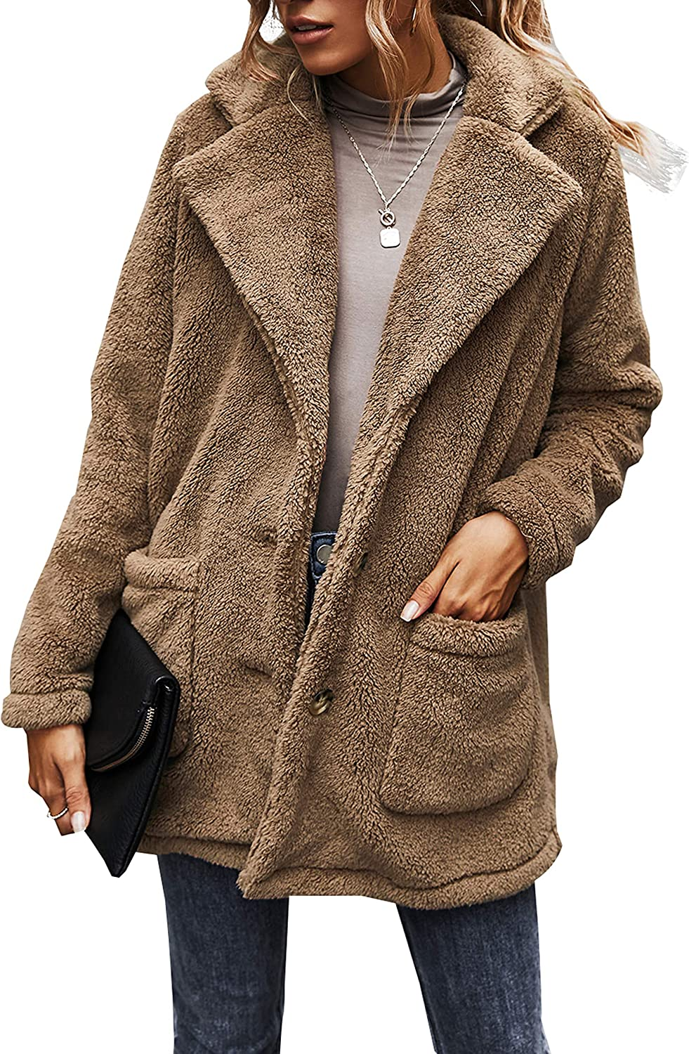 Uaneo Womens Sherpa Fleece Button Front Single Breasted Notched Lapel Teddy Coats(Khaki-S)