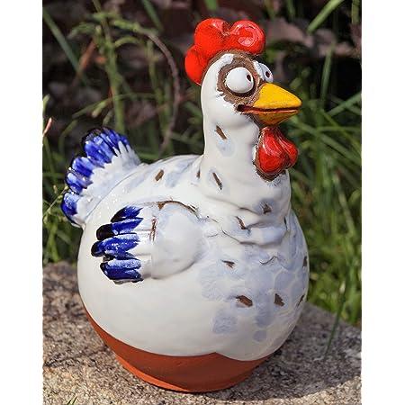 ca 110cm Gartenstecker Huhn am Stab weiss oder rosa H