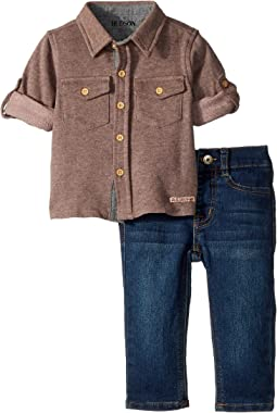 Hudson Kids - Two-Piece Button Down Shirt w/ Knit Denim Pants Set (Infant)