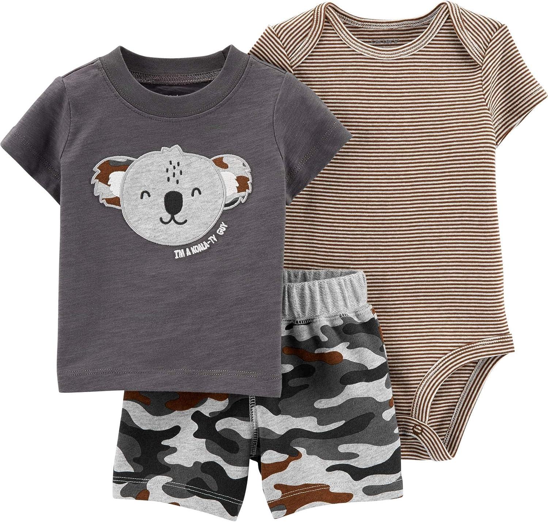Carter's Baby Boys' 3-Piece Little Short Sets (Newborn, Brown/Koala)
