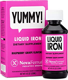NovaFerrum Pediatric Drops Liquid Iron Supplement for Infants and Toddlers 4 fl oz (120 mL) - Raspberry Grape