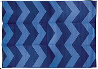 Camco Large Reversible Outdoor Patio Mat - Mold and Mildew Resistant, Easy to Clean, Perfect for Picnics, Cookouts, Camping, and The Beach (6' x 9', Blue Chevron Design) (42878)