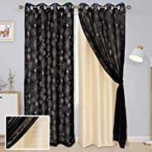 Linenwalas Exclusive Home Curtain Panel Pair Solid & Sheer Mix Match - Double Layered Eyelet Blackout Window Curtain 4.5ftx5ft - 2 Piece - Ivory Black