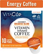 VitaCup Energy Blend Coffee Pods Keto|Paleo|Whole30 Friendly, B12, B9, B6, B5, B1, D3, Compatible with K-Cup Brewers Including Keurig 2.0, Top Rated Cups (Gourmet Breakfast, 10)
