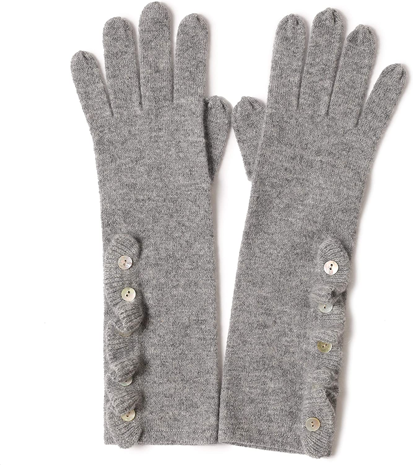 Folded Side Womens Warm Gloves with Buttons 100% Cashmere Knitted Five Finger Long Gloves