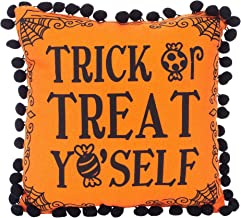 C&F Home Treat Yo'self Pumpkin Orange 10 x 10 Cotton Fabric Halloween Throw Pillow