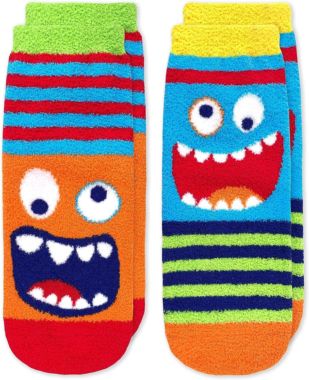 Jefferies Socks Boy's Monster Fuzzy Non-Skid Slipper Socks 2 Pack, Multi, X-Small
