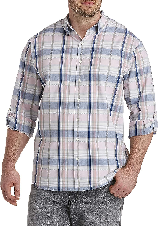 DXL Synrgy Big and Tall Medium Plaid Sport Shirt, Bridal Rose
