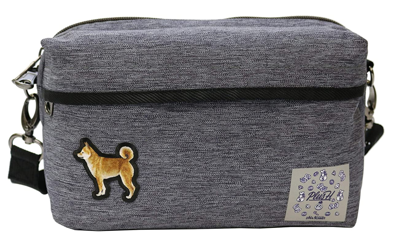 ロデオ隣接する騒々しいプラスエイチ(Plus H) ショルダーバッグ ミニショルダー 柴犬 3D刺繍パッチ メンズ レディース PH8441