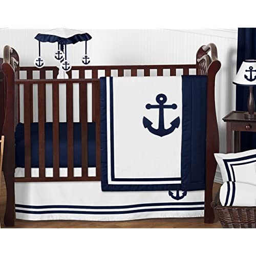 6e6166f52 Anchors Away Nautical Navy and White Boys Baby Bedding 11 Piece Crib Set  Without Bumper