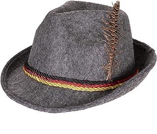 Swiss, German Alpine Bavarian Oktoberfest Felt Hat Cap w/Feathers, Adult, Unisex Gray