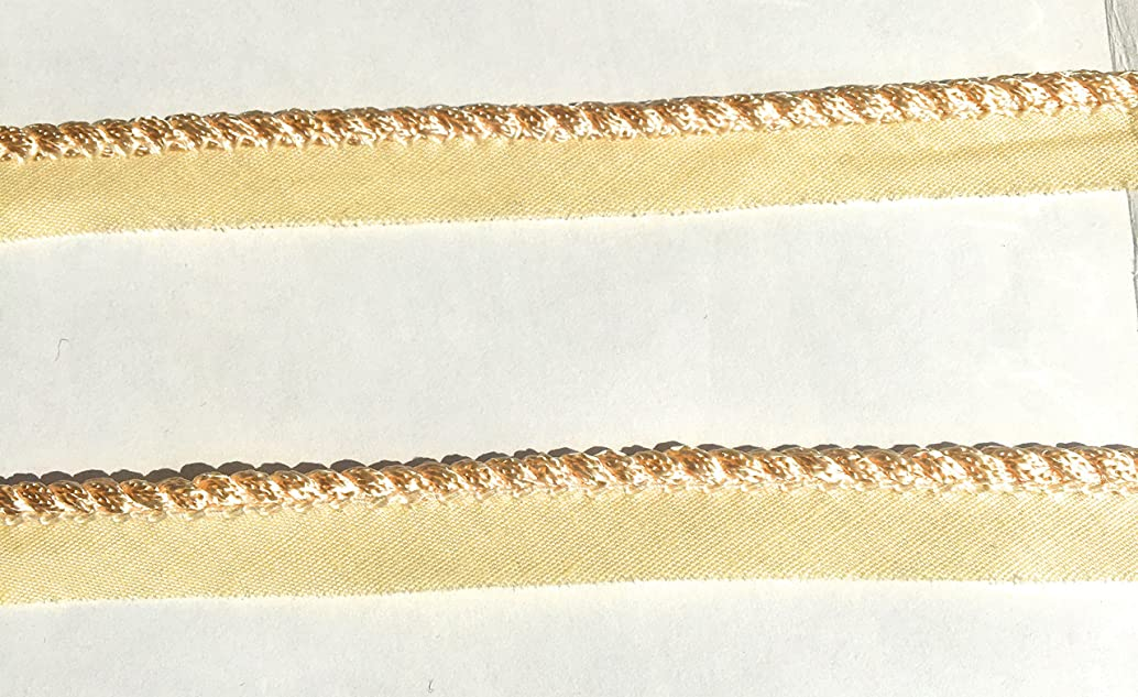 PEACH SPIRAL Cord edge , Cord-edge -Piping Trim Lip Cord Trimming Piping for Clothing Pillows, Lamps, Draperies 5 Yards Pi-129/108