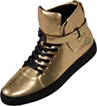 Sio The Original Mens High Top Designer Lace-Up Sneaker, Metallic Pebble Grain Upper with Black Slide Buckle and Strap