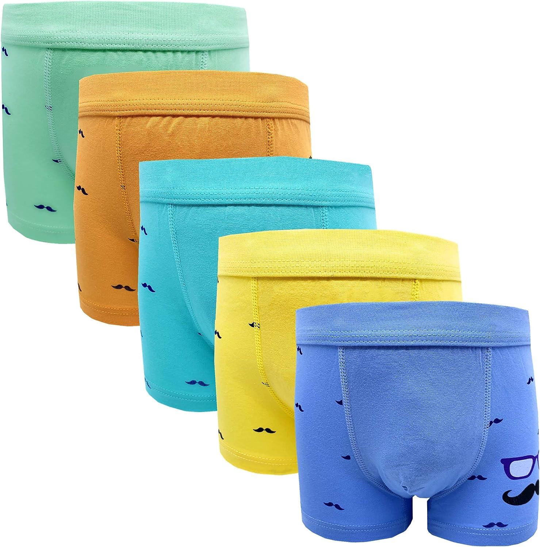 Boys Kids Soft Cotton Fashion Boxer Briefs Underwear 5 Pack