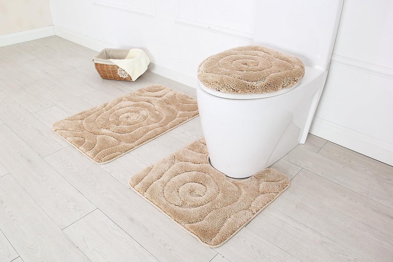 Amazon Com Bh Home Linen 3 Piece Luxurious Ultra Plush Prestige Bath Rug Set Bath Rug 19 5 X 30 5 Contour 20 X 20 Made With 100 Polyester Beige Home Kitchen