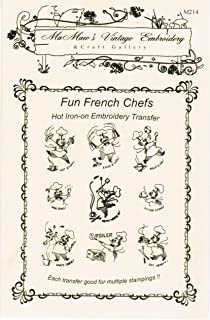 French Chefs for The Kitchen Hot Iron Embroidery Transfers