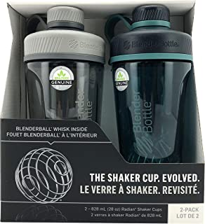 BLENDER BOTTLE Shaker Cup 2 Pack | Blender Ball |Protein Shake Self Mixer | Extra Wide Mouth | 28 Ounce Each (Grey and Green)