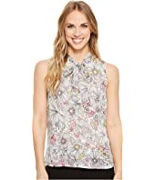 Tommy Hilfiger - Sleeveless Woven Botanical Floral Etching Tie Neck