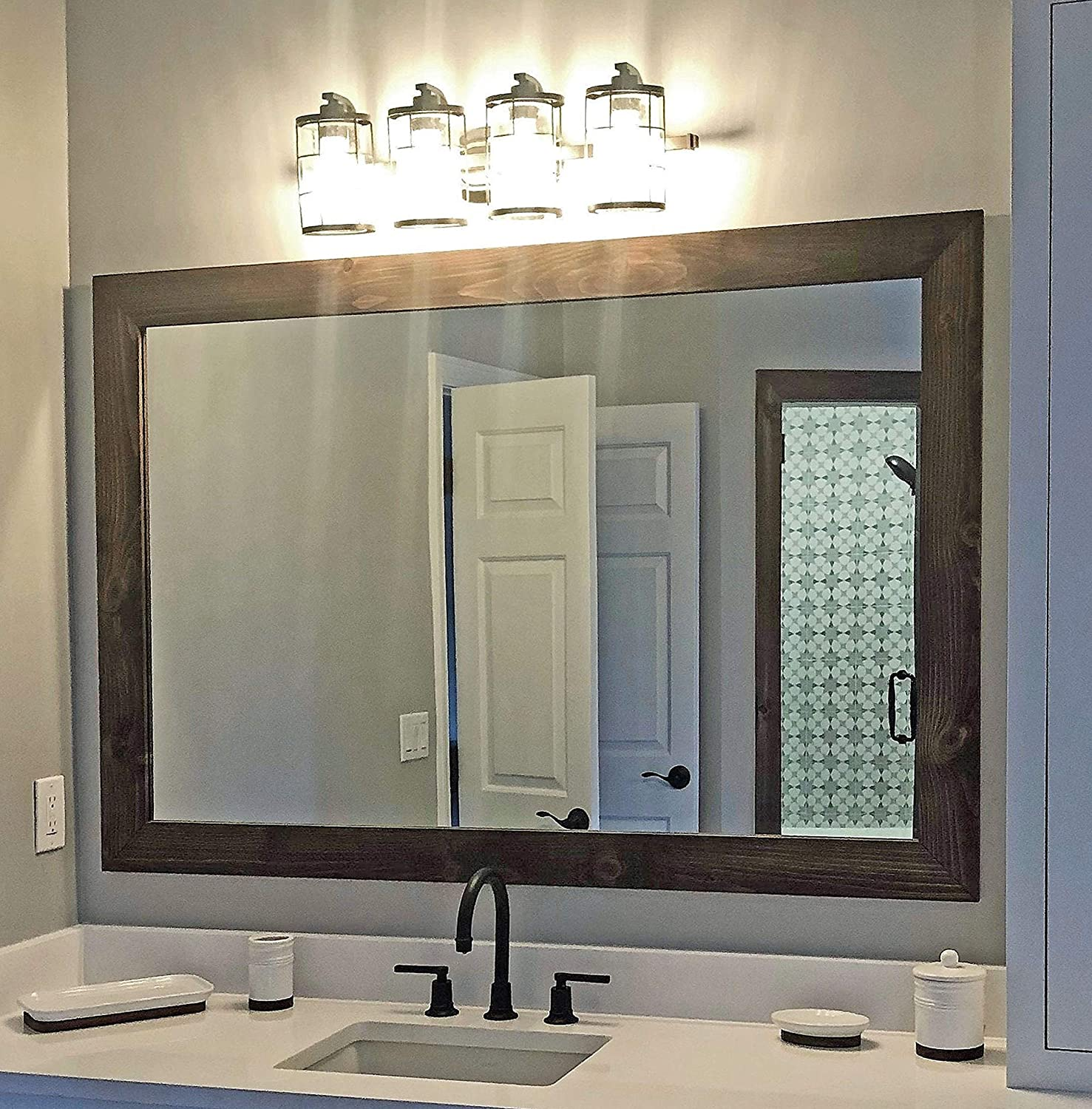 Amazon Com Shiplap Rustic Wood Framed Mirror 20 Stain Colors Special Walnut Reclaimed Styled Wood Large Vanity Mirror Bathroom Mirror Master Bathroom Mirror Full Length Mirror Big Mirror Hanging Mirror Handmade Products