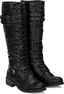 Women's Knee High Lace Up Buckle Military Combat Boots