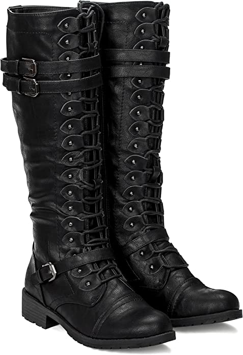 Steampunk Costume Essentials for Women ILLUDE Womens Knee High Lace Up Buckle Military Combat Boots  AT vintagedancer.com