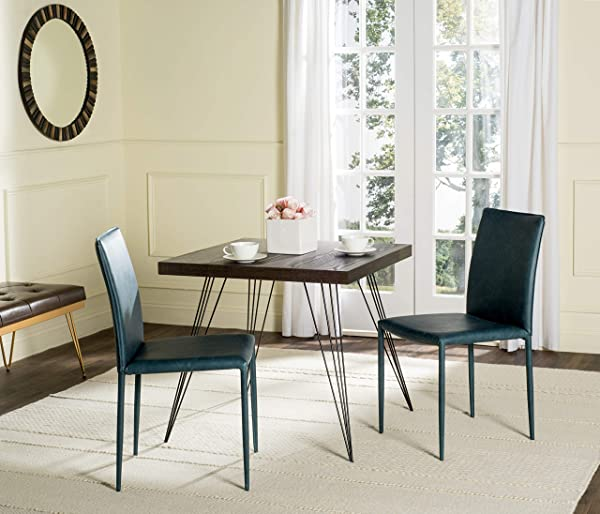 Safavieh Home Collection Karna Antique Teal Bonded Leather Dining Chair Set Of 2