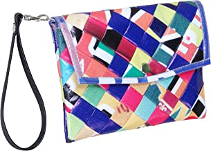 Small snap wristlet made from street banners - salvaged purse upcycled upcycle up-cycled recycled love different smart person vegetarians products eco friendly colorful vibrant