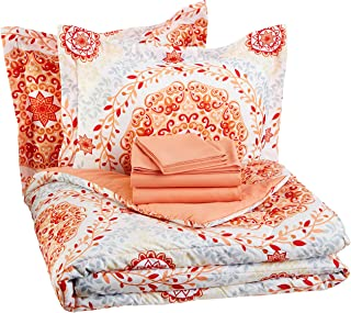 AmazonBasics 7-Piece Bed-In-A-Bag, Full / Queen Bedding Comforter Sheet Set, Coral Medallion, Microfiber, Ultra-Soft