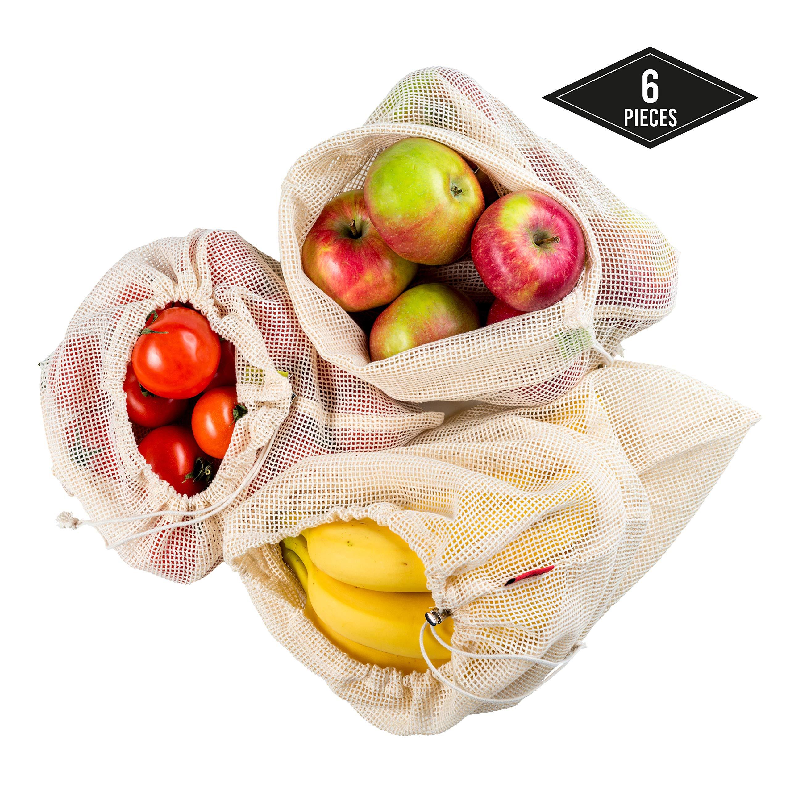 6 Bolsas de Vegetales Reutilizables (S M L) - Ecológico y Biodegradable| Transpirables, Bolsas de Malla de 100% Algodón - Robusto, Lavable y Durable, Bolsas de Frutas y Vegetales.: Amazon.es: Hogar