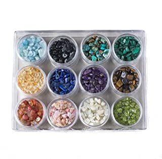 Cherry Blossom Beads Bead Storage Box - Gemstone Chips of Yellow Tigereye, Turquoise, Lapis, Amethyst and more!