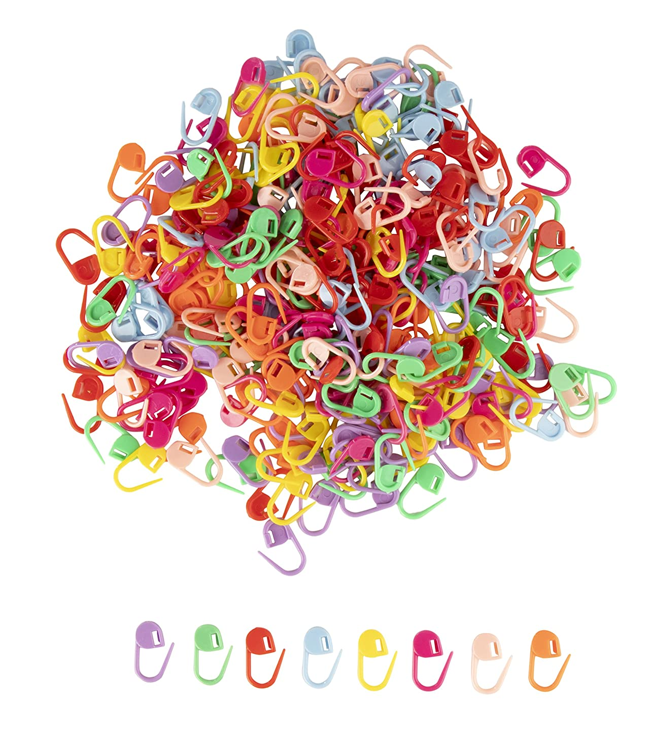 Stitch Markers - 320-Piece Knitting Stitch Markers, Crochet Stitch Markers, Stitch Needle Clips for Sewing, Quilting, Weaving, and DIY Craft, 40 of Each 8 Colors, 0.86 x 0.4 Inches