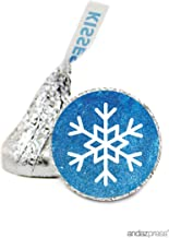 Andaz Press Chocolate Drop Labels Stickers, Birthday, Frozen Snowflake, 216-Pack, for Hershey's Kisses Party Favors, Gifts, Decorations