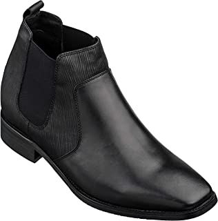 CALTO Men's Invisible Height Increasing Elevator Shoes - Black Premium Leather Slip-on High-top Chelsea Boots - 2.8 Inches Taller - T54021