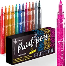 Glitter Paint Pens for Rock Painting, Scrapbook Journals, Photo Albums, Card Stocks, Paper Project, Coloring. Set of 12 Ac...