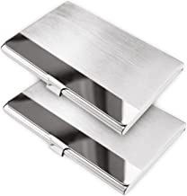 homEdge Super Light Stainless Steel Business Card Holder, Slim Professional 2 Packs Card Case for Traveling and Business