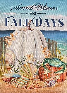 Furiaz Fall Beach Pumpkin Garden Flag, Autumn Coastal Sea Ocean House Yard Decorative Small Burlap Flag Shell Starfish Cra...