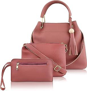 ADISA Women's Handbag with Sling Bag & Pouch (Set of 3)