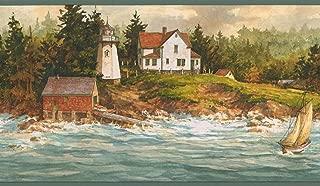 Blue Waves Boat Lighthouse Village Forest Nature Vintage Wallpaper Border Retro Design, Roll 15' x 6.5''