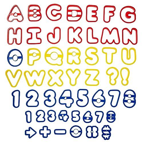 Wilton Pack de 50 cortadores de Galletas, diseño de Letras y números, Rojo,
